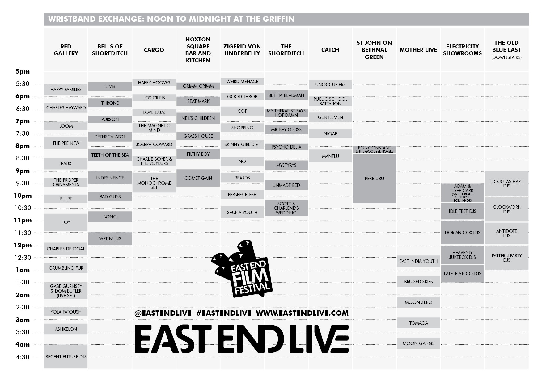 East End Live Schedule