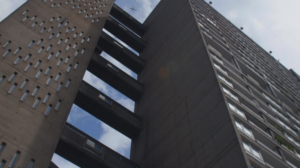 Picture of Balfron Tower - still from the film Dispossession: The Great Social Housing Swindle